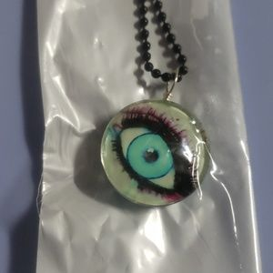 Detailed eye long necklace